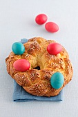 A bread wreath with Easter eggs