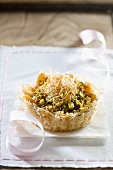 Apple and pistachio knafeh