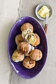 Rolls filled with chestnuts and blue cheese (seen from above)