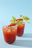 Bloody Mary's with ice and chilli peppers