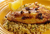 Orzo Topped with Pan Seared Talapia