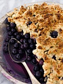 Blueberry Cobbler in Baking Dish with Scoop Removed