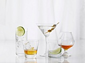 Five Assorted Glasses with Assorted Liquors