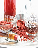 Dried goji berries and goji berry juice