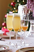Bellini (a cocktail made with sparkling wine and peach puree)
