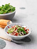 Glass noodle salad with vegetables and grilled calamari