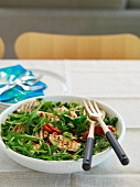 Rocket salad with chicken and orzo pasta