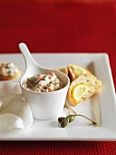 A salmon dip with capers and dill