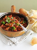 Bean and tomato stew with sausages