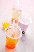 Bubble tea in plastic cups