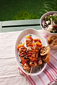 Grilled chicken and pepper kebabs