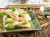 Rice paper rolls with soy sauce (Asia)