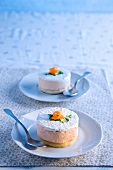 Salmon mousse topped with cream cheese