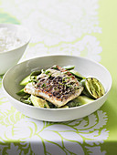 Barramundi with vegetables and Thai dressing