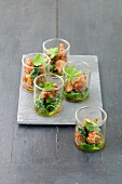 Appetizer - glasses filled with chicken and spinach