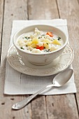 Cream of cauliflower soup with dill