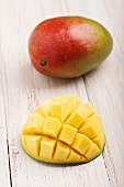 Mangos, whole and cut into cubes