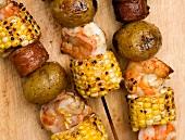 Shrimp, Corn, Sausage and Potato Kabobs