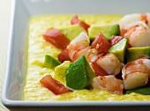 Bowl of Corn Shrimp and Avocado Soup; Close Up