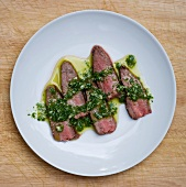 Sliced Steak Topped with Chimichurri Sauce