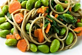 Soba Noodles with Edamame, Carrots and Spinach; Close Up
