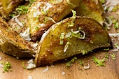 Roasted Potato Wedges with Parmesan Cheese and Lime Zest