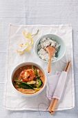 Red Thai curry with vegetables and prawns
