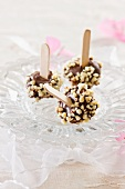 Chocolate truffles on sticks