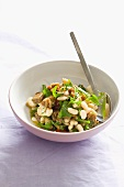 Aubergine and bean salad