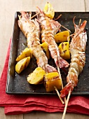 Prawn kebabs with mango