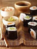 Various types of maki sushi with wasbai, ginger and soy sauce