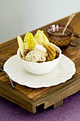 Warm chicory salad with gorgonzola, pears and caramelised walnuts