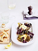 Stuffed vine leaves with mozzarella, sardines and grilled grapes