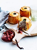 Chicken pies with grape chutney