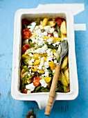 Oven-roasted Greek vegetables with feta cheese