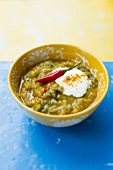 Lentil soup with chilli and turmeric