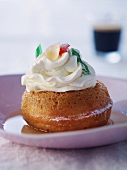 Baba au rhum (yeast cake drenched in rum)