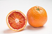 Whole and half blood orange