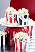 Popcorn in striped muffin cases