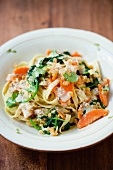 Tagliatelle with spinach, lentils and carrots