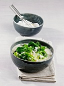 Spinach and yogurt soup with rice (Asia)