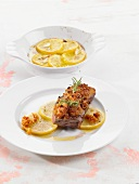Gratinated rump steak with lemons