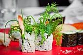 Fresh herbs on a sushi platter