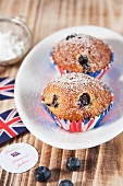 Blueberry muffins next to Union Jacks