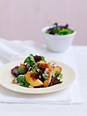 Duck salad with peaches and shiso leaves