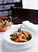 Quail with vegetable ragout