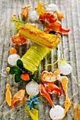Crayfish with kohlrabi and cress cannelloni