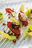 Beef tartare with celery and a duo of truffles