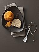 Sweet pumpkin pudding with pumpernickel parfait