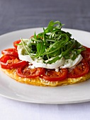 Tomato, mozzarella and rocket on a puff pastry base